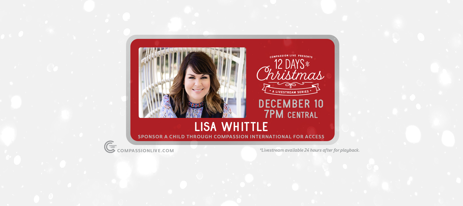 12 Days of Christmas: A Livesteam Series | Lisa Whittle (Dec. 10th) logo