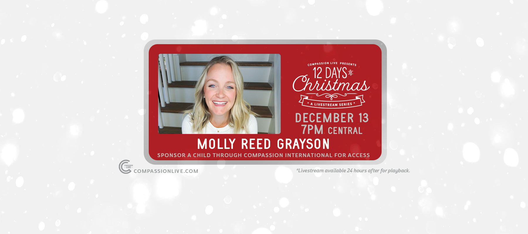 12 Days of Christmas: A Livesteam Series | Molly Reed Grayson (Dec. 13th) logo