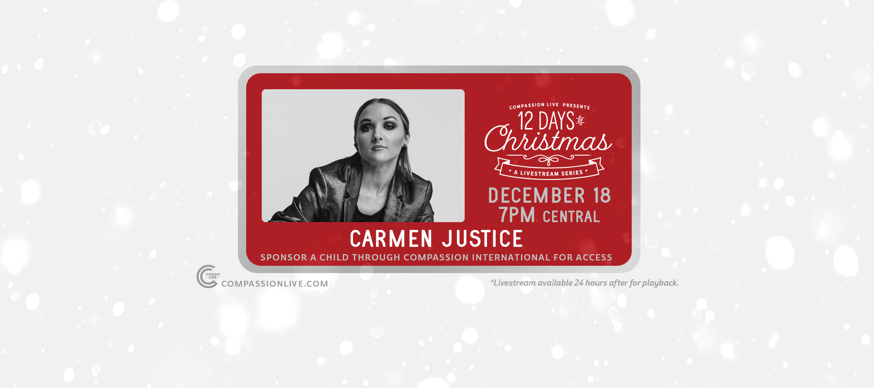12 Days of Christmas: A Livesteam Series | Carmen Justice (Dec. 18th) logo