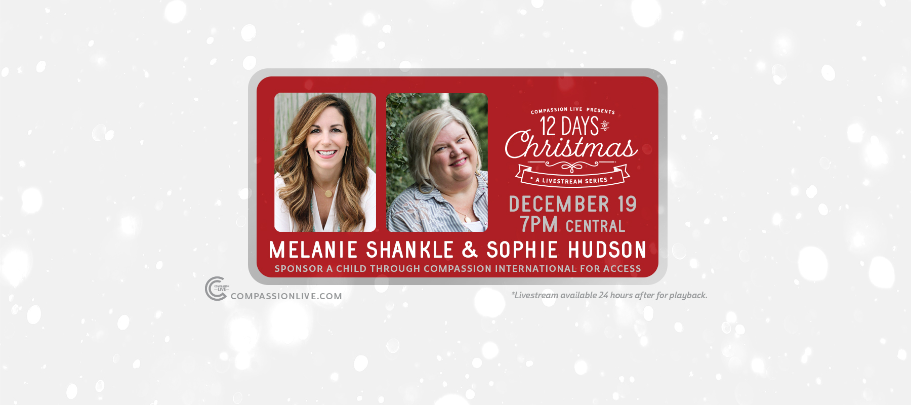 12 Days of Christmas: A Livesteam Series | Melanie Shankle + Sophie Hudson (Dec. 19th) logo